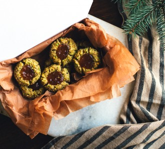 Pistachio Thumbprint Cookies with Apricot-Rose Jam