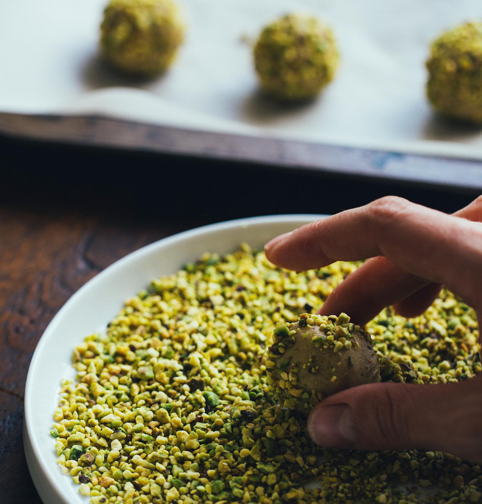 Pistachio Thumbprint Cookies with Apricot-Rose Jam