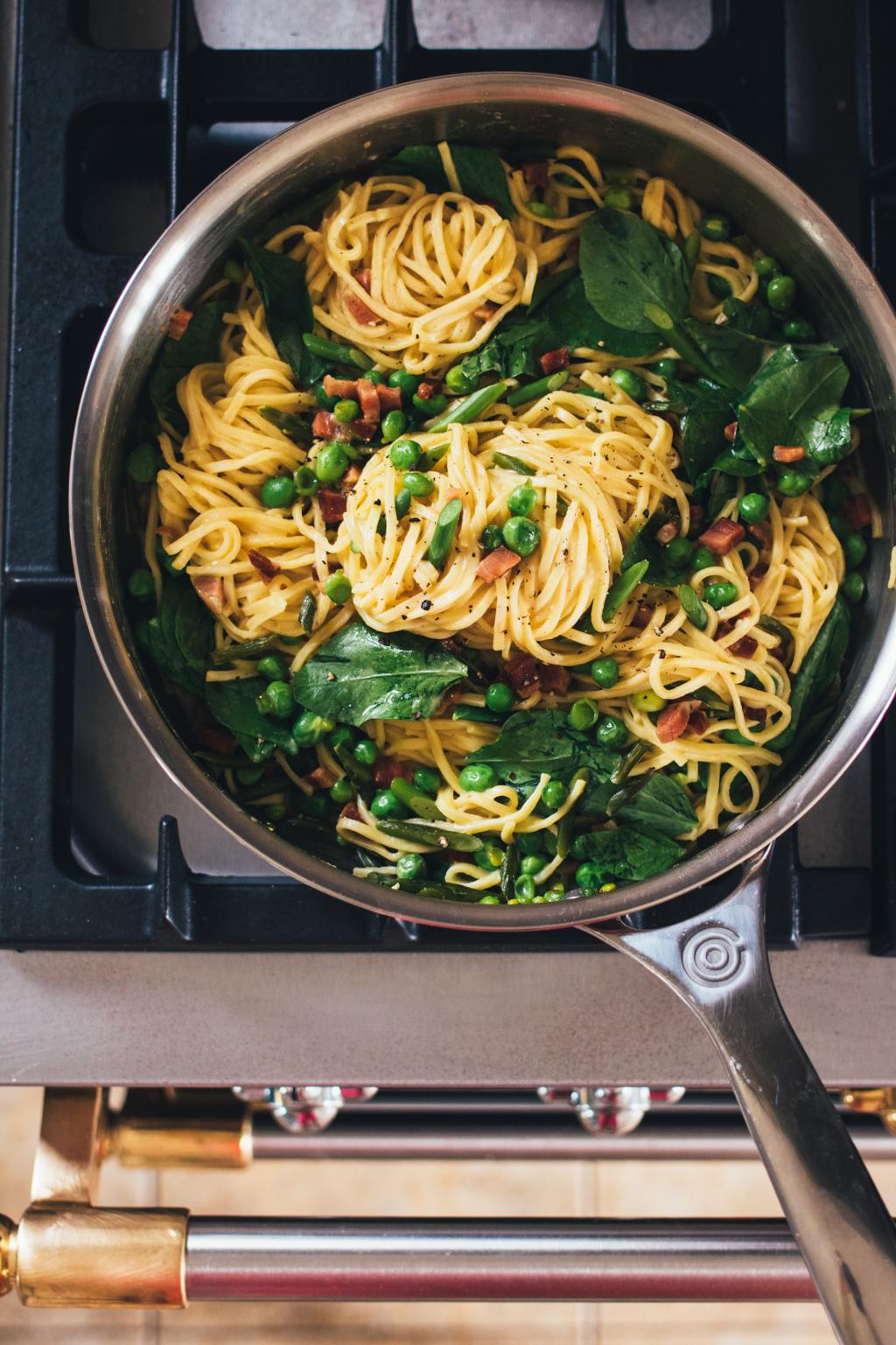 Sweet Pea Spaghetti Carbonara
