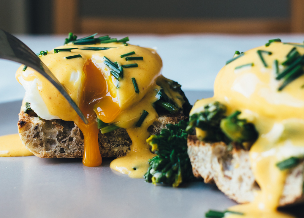 Eggs Benedict with Garlic Rapini