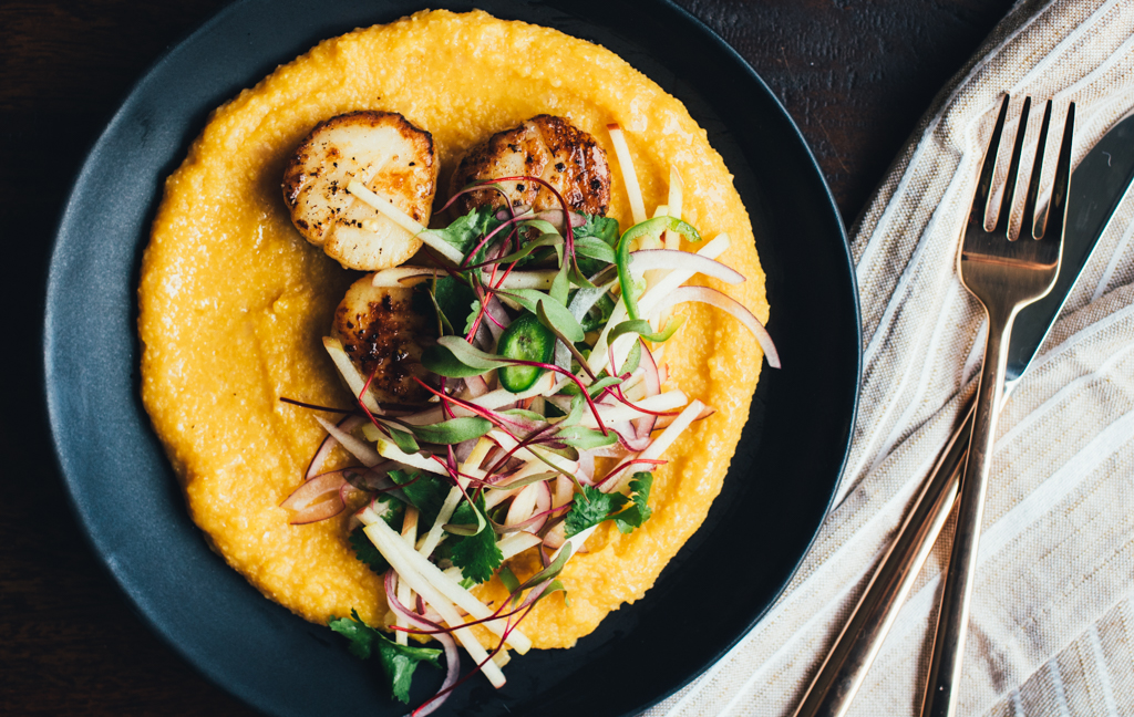 Seared Scallops with Smoky Squash Polenta and Apple Jalapeño Slaw