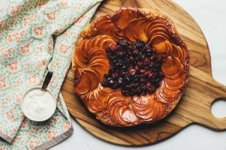 Persimmon and Cranberry Tarte Tatin