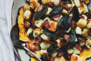 Pan-fried Gnocchi with Roasted Squash, Bacon, and Sage