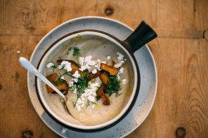 Caramelized Shallot and Mushroom Soup with Chèvre