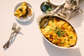Potatoes au Gratin with Haricots Verts and Prosciutto