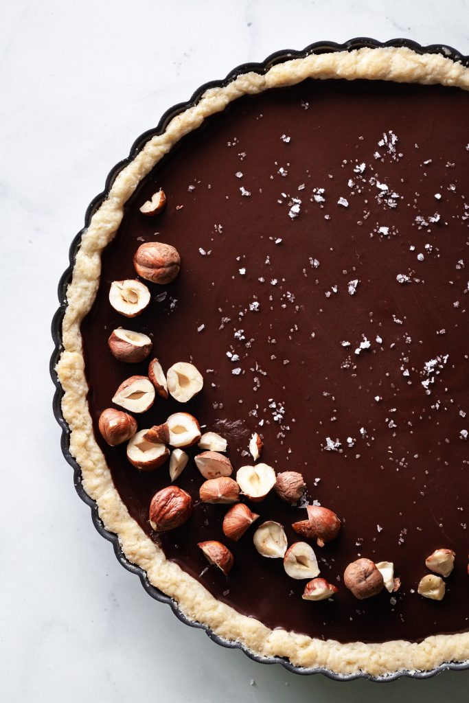 Salted chocolate ganache tart