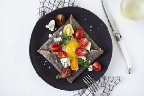 Heirloom Tomato + Gorgonzola Galettes de Sarrasin (Buckwheat Crepes)