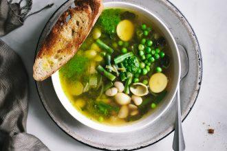 overhead shot of Winter Provençal Soup [Soupe Au Pistou]